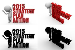 3d character strategy plan action concept collections with alpha and shadow channel Stock Photos