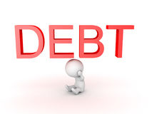 3D Character is stressed about debt Stock Images
