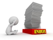 3D Character Stressed about Huge Stack in Inbox - Overworked Concept Stock Image