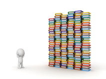 3D Character Stressed with Many Books Royalty Free Stock Image