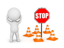 3D Character Stressed About Road Blocks Royalty Free Stock Images