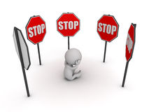 3D Character Stressed Surrounded by Stop Signs Stock Photography