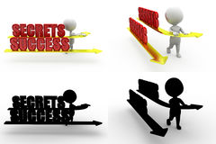 3d character success of secret concept collections with alpha and shadow channel Stock Images