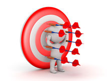 3D Character Surrounded by Dart Arrows and Pinned to a Target Stock Photography