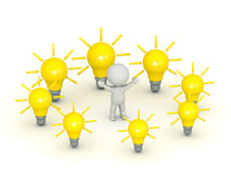 3D Character Surrounded by Light Bulb Ideas. On white background Royalty Free Stock Photography
