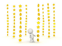 3D Character surrounded by many stacks of shiny stars. It could convey being star struck or being really hopeful or optimistic, the shooting for the stars Royalty Free Stock Images