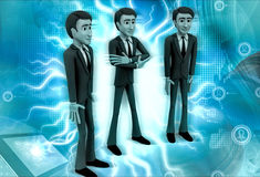 3d character t character standing straight and one character with hands fold illustration Royalty Free Stock Image