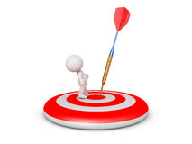 3D Character on Target with Dart Arrow close Royalty Free Stock Image