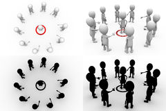 3d character target teamwork concept collections with alpha and shadow channel Royalty Free Stock Photo