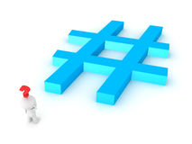 3D Character thinking abou the perfect hashtag Stock Photography