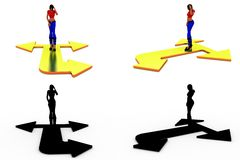 3d character three way concept Collections With Alpha And Shadow Channel Stock Photos