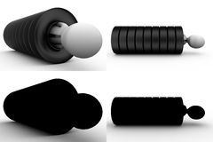 3d character in tire concept collections with alpha and shadow channel Stock Photography