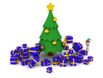 3D Character and too many gifts around the Christmas Tree Royalty Free Stock Images