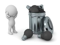 3D Character and Trash Can with Dark Light Bulbs Royalty Free Stock Photos