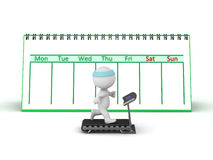 3D Character with Treadmill and Calendar. 3D Character running on a treadmill with a large week calendar behind him.  on white background Stock Photos