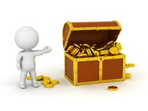 3D Character With Treasure Chest and Gold Coins Stock Photos