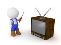 3D Character tries to repair television Royalty Free Stock Photography