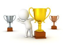 3D Character and Trophies Stock Image