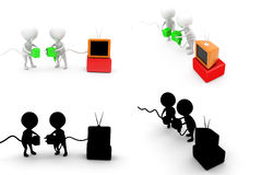 3d character tv plug concept  collections with alpha and shadow channel Stock Photography