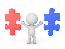 3D Character with two puzzle pieces next to him, one red, anothe Royalty Free Stock Image