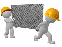 3d character two work men carrying sheet of checker plate Stock Photo