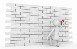 3d character use red spray doing graffiti. Wall on the graffiti. 3d high quality rendering Royalty Free Stock Image