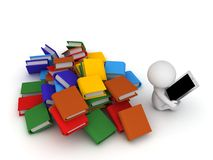 3D Character Using Tablet and Ignoring Books Stock Photo