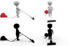 3d character vaccum cleaner concept collections with alpha and shadow channel Stock Photos