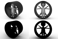 3d character vitruvian character concept collections with alpha and shadow channel Royalty Free Stock Images