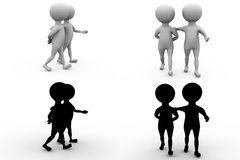 3d character walk with friend concpet collections with alpha and shadow channel Stock Photography
