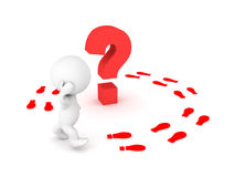 3D Character walking in circles around a question Stock Photo
