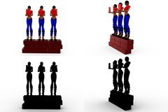3d character wall concept Collections With Alpha And Shadow Channel Royalty Free Stock Photo