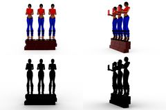 3d character wall concept Collections With Alpha And Shadow Channel Stock Photo