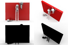 3d character wall on ladder concept collections with alpha and shadow channel Stock Photos
