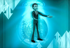 3d character warmly welcome illustration Stock Photos