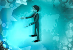 3d character warmly welcome illustration Royalty Free Stock Photos