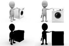 3d character with washing machine concept  collections with alpha and shadow channel Stock Image