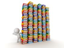 3D Character Waving from Behind Huge Stacks of Books Royalty Free Stock Photo