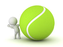 3D Character Waving from Behind Large Tennis Ball Stock Images