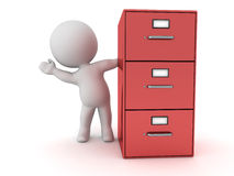 3D Character Waving from Behind Red Archiving Cabinet Royalty Free Stock Photo