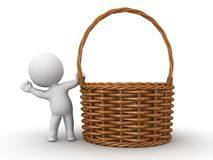 3D Character waving from behind Wicker Basket Royalty Free Stock Images