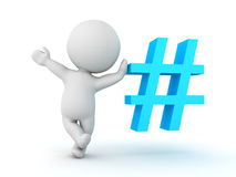 3D Character waving and leaning on blue pound or hashtag sign Stock Image