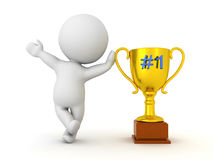 3D Character waving and leaning on golden trophy with number one Stock Images