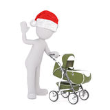 3d character waving a pushing a pram Stock Images