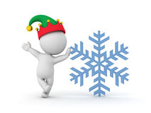 3D Character wearing elf hat leaning on snow flake Stock Images