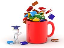 3D Character wearing graduation cap showing cup filled with books Royalty Free Stock Images