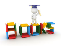 3D Character wearing a graduation hat and standing on a books si Stock Photos