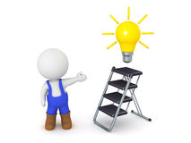 3D Character wearing overalls showing small ladder and light bulb. 3D character wearing overalls showing a small ladder and a light bulb idea. Isolated on white Royalty Free Stock Photos