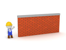 3D Character Wearing Worker Clothes Showing Brick Wall Stock Photos