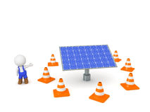 3D Character Wearing Worker Overalls and Solar Panel Under Maint Royalty Free Stock Image